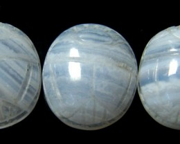 CABOCHON BLUE LACE AGATE SCARAB  10.9 CARATS 3PCS  RO2942