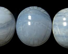 CABOCHON BLUE LACE AGATE SCARAB  11.2 CARATS 3PCS  RO2943