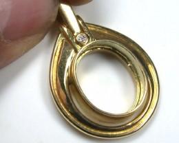18 K GOLD RING FINDING POLISHED PENDANT  N DIAMOND    L287