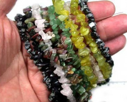 PARCEL SIX GEMSTONE NECKLACES  36 INCHES LONG EACH  RN 57ML
