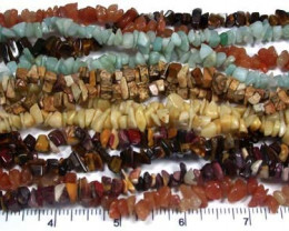 PARCEL SIX GEMSTONE NECKLACES  36 INCHES LONG EACH  RN 58ML