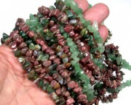 PARCEL SIX GEMSTONE NECKLACES  36 INCHES LONG EACH  RN 61ML