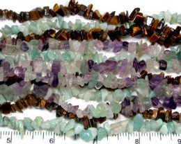 PARCEL SIX GEMSTONE NECKLACES  36 INCHES LONG EACH  RN 75ML