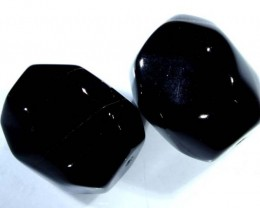 BLACK ONYX FACETED BEAD 2 PCS 76  CTS  NP-1055