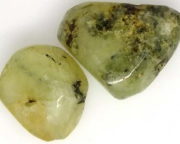 PREHNITE BEAD DRILLED 2 PCS 58 CTS   NP-1533