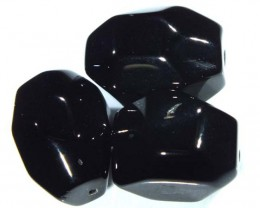 BLACK ONYX FACETED BEAD 3 PCS 101 CTS  NP-698