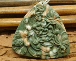 Natural stone carved flower pendant (G1058)