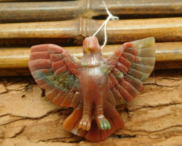 Fancy agate carved raven pendant bead (G1063)