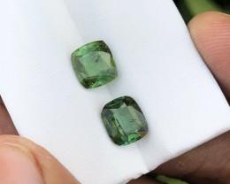 3 Ct Natural Greenish Transparent Tourmaline Gemstones Pairs