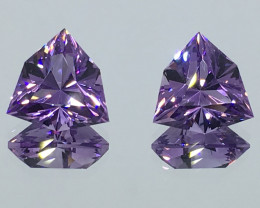 5.73 Carat IF Amethyst Pair Rose De France Master Cut Out of This World !