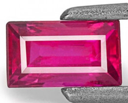 Mozambique Ruby, 0.55 Carats, Neon Red Rectangular