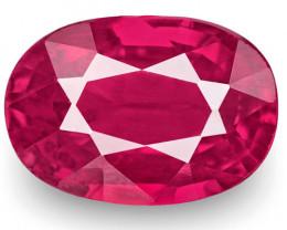 IGI Certified Burma Ruby, 1.05 Carats, Fiery Pinkish Red Oval