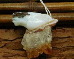 Yellow quartz carved horse pendant bead (G1075)
