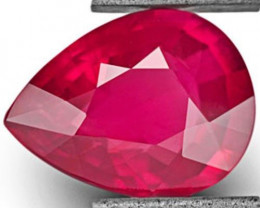 GRS Certified Mozambique Ruby, 2.39 Carats, Deep Pinkish Red Pear
