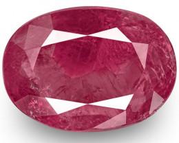 IGI Certified Burma Ruby, 4.58 Carats, Purplish Red (Colour Zoning) Oval
