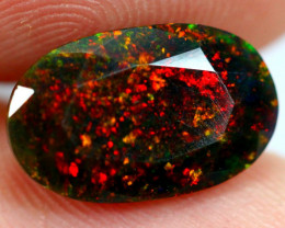 2.07cts Natural Ethiopian Black Faceted Welo Opal / JU208