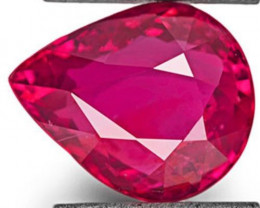 GRS Certified Mozambique Ruby, 3.01 Carats, Deep Pinkish Red Pear