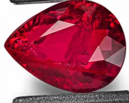 IGI Certified Mozambique Ruby, 1.00 Carats, Deep Pinkish Red Pear