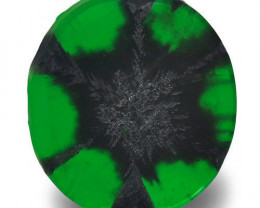 Colombia Trapiche Emerald, 1.18 Carats, Royal Green Oval