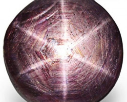 AIGS Certified India Star Ruby, 61.84 Carats, Greyish Purple Round