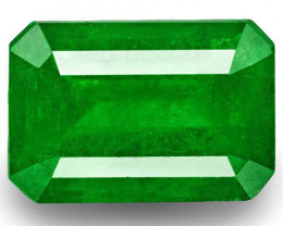 Colombia Emerald, 3.86 Carats, Rich Green Emerald Cut
