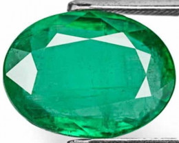 Zambia Emerald, 4.94 Carats, Leaf Green Oval