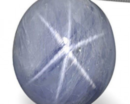 AIGS Certified Burma Blue Star Sapphire, 52.05 Carats, Greyish Blue Oval