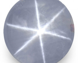 Sri Lanka Blue Star Sapphire, 12.34 Carats, Light Greyish Blue Round