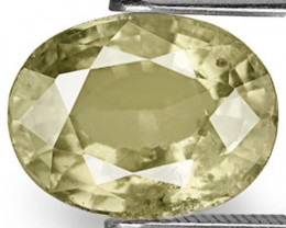 AIGS Certified Madagascar Fancy Sapphire, 4.67 Carats, Yellowish Green Oval