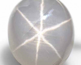 Burma Fancy Star Sapphire, 7.57 Carats, Greyish White Oval