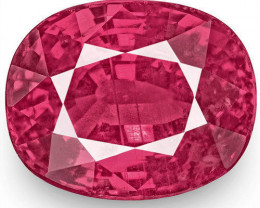 IGI Certified Mozambique Ruby, 2.07 Carats, Fiery Vivid Pinkish Red Cushion
