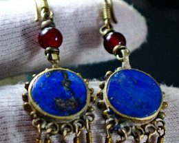 52.10 CT Natural lapis lazuli Carved earrings Special Shape