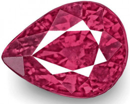 IGI Certified Mozambique Ruby, 2.01 Carats, Fiery Vivid Purplish Red Pear
