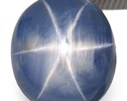 Burma Blue Star Sapphire, 5.65 Carats, Deep Sky Blue Oval