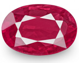 IGI Certified Mozambique Ruby, 0.66 Carats, Deep Pinkish Red Oval