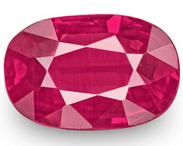 IGI Certified Mozambique Ruby, 0.90 Carats, Neon Pinkish Red Oval