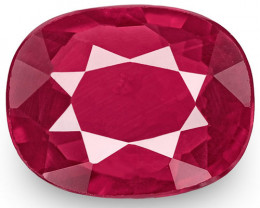 IGI Certified Mozambique Ruby, 1.00 Carats, Red Cushion