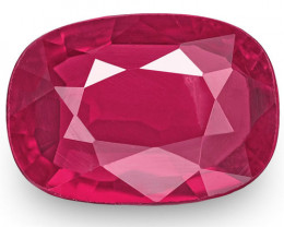 IGI Certified Mozambique Ruby, 0.88 Carats, Intense Pinkish Red Cushion