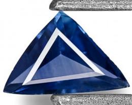 Madagascar Blue Sapphire, 0.13 Carats, Deep Cornflower Blue Trilliant