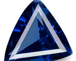 Madagascar Blue Sapphire, 0.25 Carats, Intense Royal Blue Trilliant