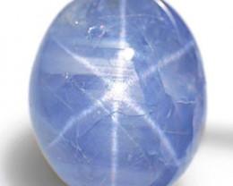 Burma Blue Star Sapphire, 6.17 Carats, Deep Blue Oval