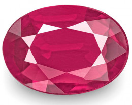 IGI Certified Mozambique Ruby, 0.69 Carats, Pinkish Red Oval