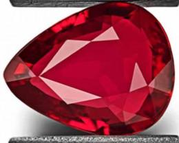 IGI Certified Burma Ruby, 1.06 Carats, Deep Pinkish Red Pear
