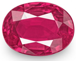 IGI Certified Mozambique Ruby, 0.86 Carats, Lively Pinkish Red Oval