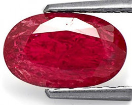 GII Certified Mozambique Ruby, 2.11 Carats, Dark Pinkish Red Oval
