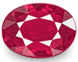 GII Certified Mozambique Ruby, 0.87 Carats, Rich Pinkish Red Oval
