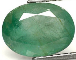 Zambia Emerald, 4.41 Carats, Light Green Oval