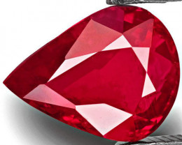 GRS Certified Mozambique Ruby, 2.01 Carats, Deep Pinkish Red Pear