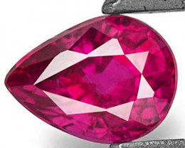 Mozambique Ruby, 0.43 Carats, Fiery Pinkish Red Pear