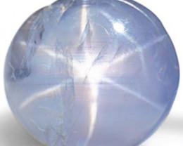 Burma Blue Star Sapphire, 6.24 Carats, Sky Blue Round